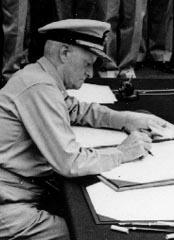 FLtAdm Chester W. Nimitz at the surrender ceremony aboard USS Missouri, 2 Sep 1945